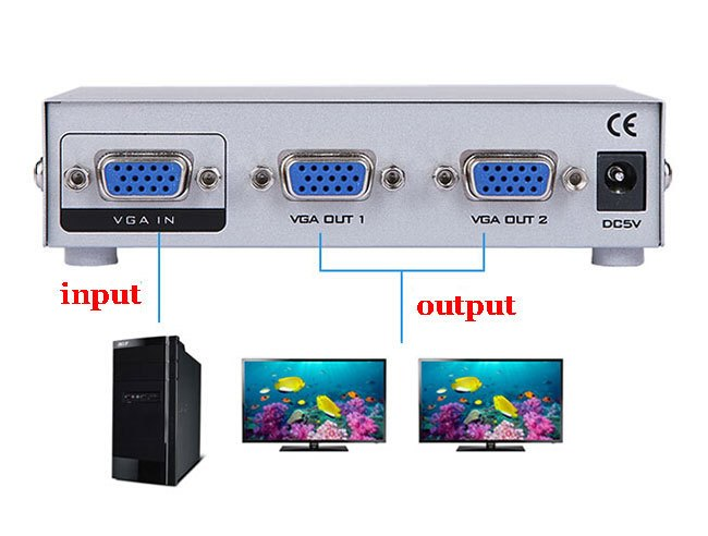 מפצל VGA ל 2  מסכים -VGA SPLITTER