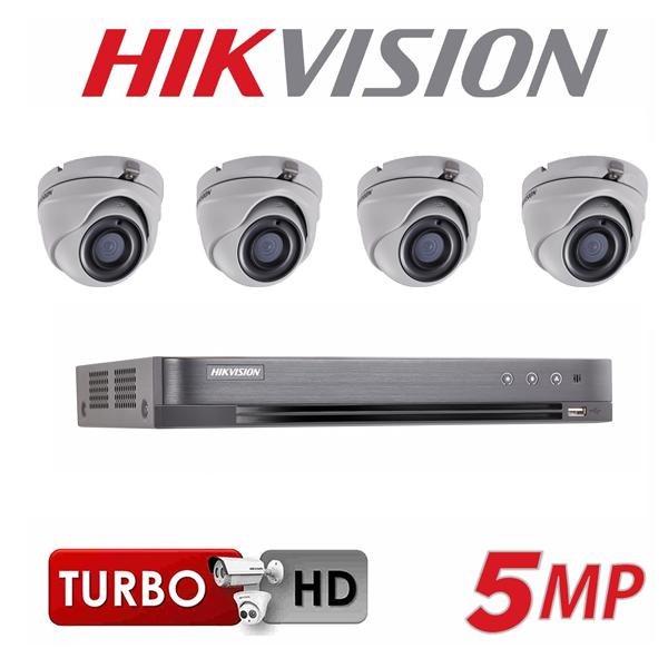 קיט מצלמות אבטחה 5MP כיפה HIKVISION